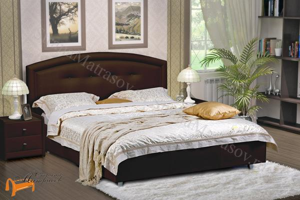 Аскона Кровать двуспальная Grace с подъемным механизмом , экокожа коричневая, кровать кассандра, кровать Cassandra