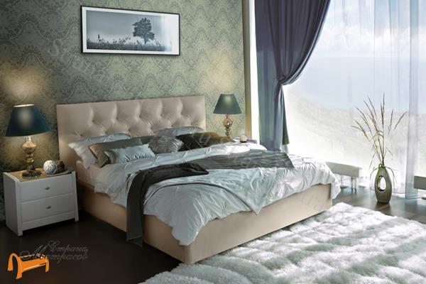 Аскона  двуспальная Marlena с подъемным механизмом , экокожа бежевая, кровать фенди, кровать Fendi