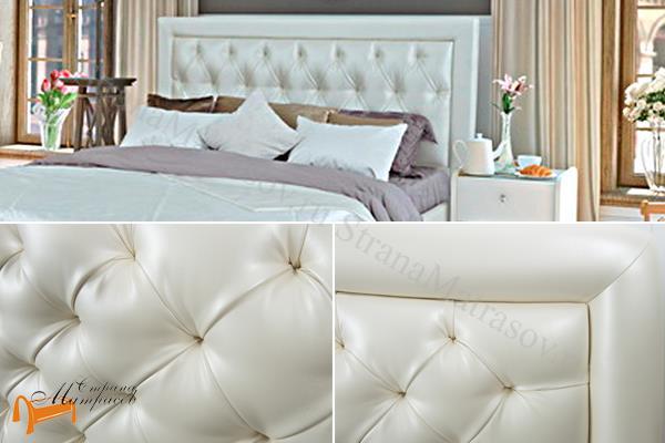 Аскона Кровать Simona , экокожа, Симона, белая, кремовая, черная, коричневая, красная, серая,