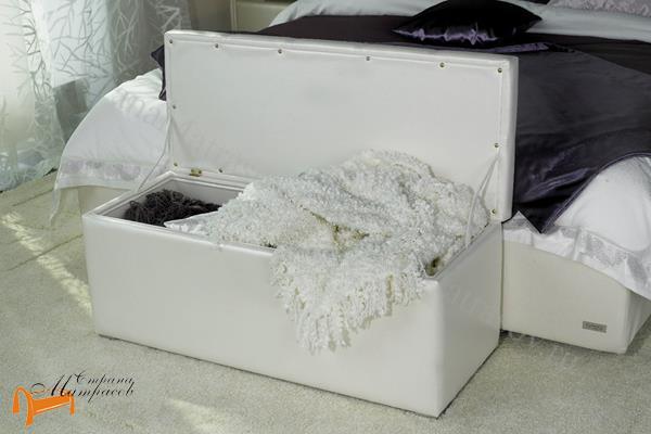 Аскона  Банкетка Квадро 2 с ящиком (пуф) , тумба, тумбочка, экокожа