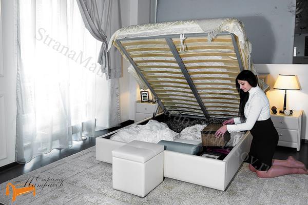 Аскона Кровать двуспальная Sandra с подъемным механизмом , экокожа, кровать Сандра, белая, черная, кремовая, коричневая, красная, серая, золотая, ящик
