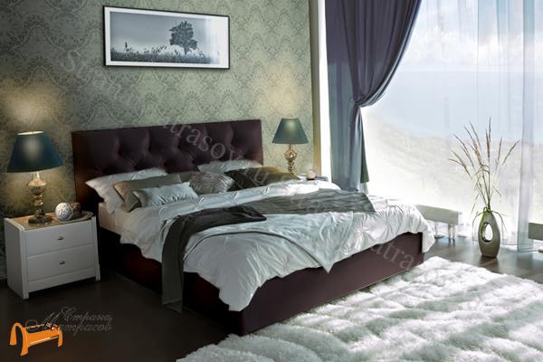 Аскона Кровать двуспальная Marlena , экокожа коричневая, кровать фенди, кровать Fendi