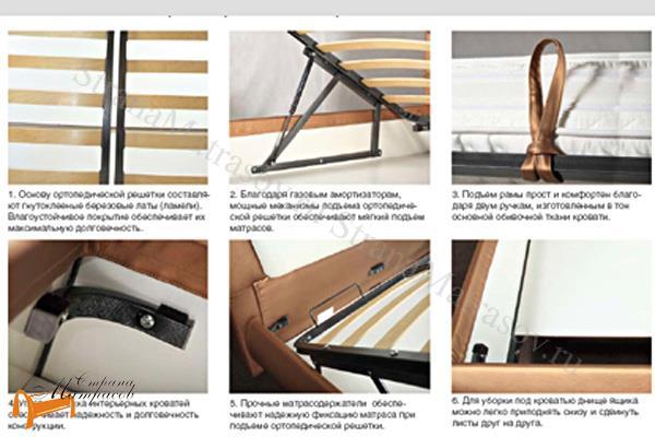 Аскона Кровать двуспальная Greta с подъемным механизмом , крепления, кровать Марта, кровать Marta, грейс