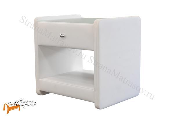 Аскона Тумба прикроватная Классик 1 , экокожа, с выдвижным ящиком, белая тумба