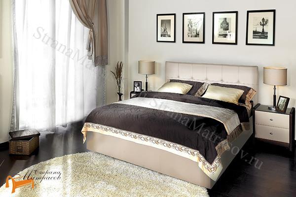 Аскона Кровать двуспальная Greta с подъемным механизмом , экокожа кремовая, кровать Марта, кровать Marta