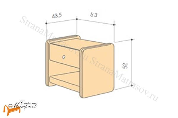 Аскона Тумба прикроватная Классик 1 , экокожа, с выдвижным ящиком