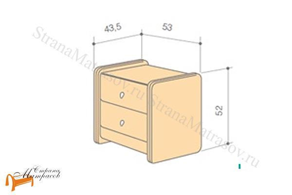 Аскона Тумба прикроватная Классик 2 , экокожа, с выдвижным ящиком, с двумя ящиками