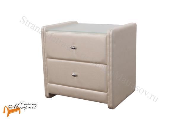 Аскона Тумба Классик 2 , экокожа, с выдвижным ящиком, с двумя ящиками, бежевая тумба