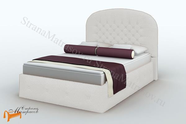 Lonax Кровать Венеция с основанием , березовые ламели, экокожа, коричневый, белый, перламутровый, пуговки
