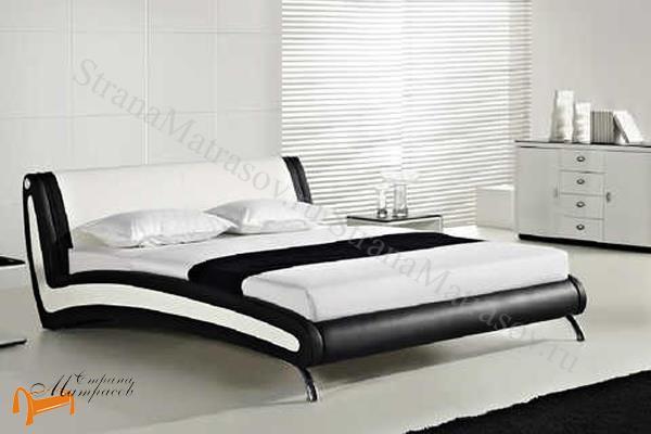 Орматек  двуспальная Corso 2 , экокожа, черный, белый, кровать Корсо