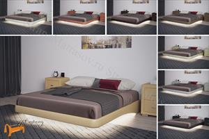 Орматек - Основание для кровати парящее с ламелями + подсветка + ножки