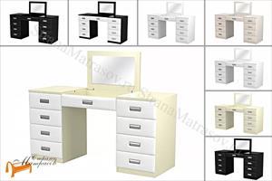 Орматек -  Туалетный стол Como / Veda с зеркалом (8 ящиков, экокожа и ЛДСП)