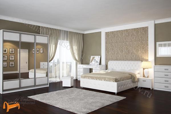 Орматек Кровать двуспальная Veda 4 с основанием , Комо, Веда, экокожа, ткань, рогожка, велюр, белый, черный, кремовый, бежевый, коричневый, золото, крокодил, жемчуг, стразы