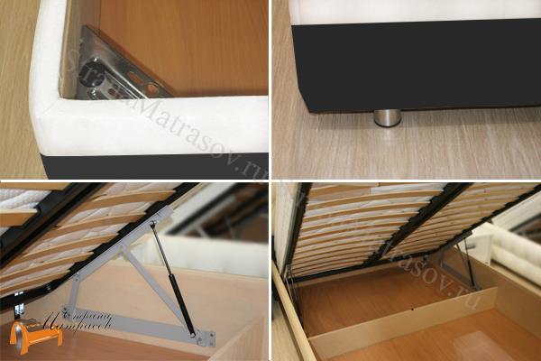 Райтон Кровать Life Box 2 с подъемным механизмом , черно - белый, бежево - коричневый, экокожа, люкс