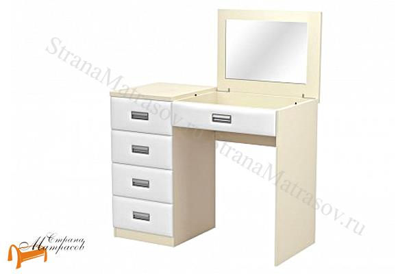 Орматек  Туалетный стол Como / Veda левый с зеркалом (4 ящика, экокожа и ЛДСП)  , Комо,  Веда, туалетный столик, ЛДСП, экокожа, зеркало, ящик, ткань, рогожка, велюр, белый, черный, кремовый, бежевый,