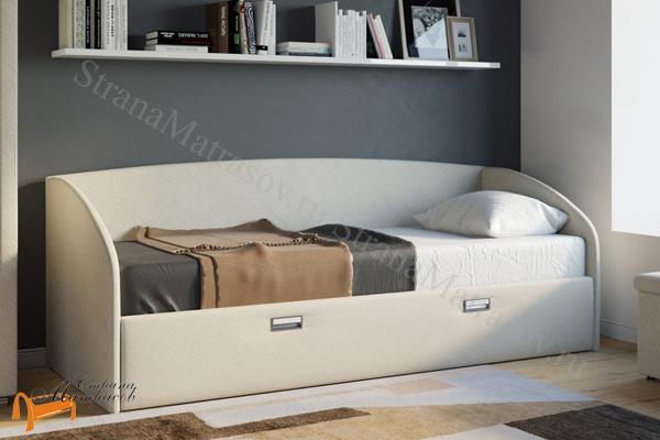 Орматек Детская кровать (подростковая) Bono с основанием и ящиком , экокожа, ткань, рогожка, велюр, золото, олива, белый, чёрный, кремовый, бежевый, коричневый, зеленый, красный, ящик, кровать софа