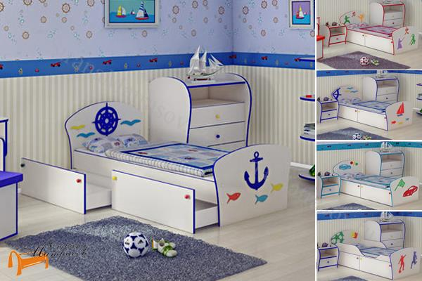 Орматек - детская кровать Орматек Соната Kids Плюс (для мальчиков) с ящиками и с основанием