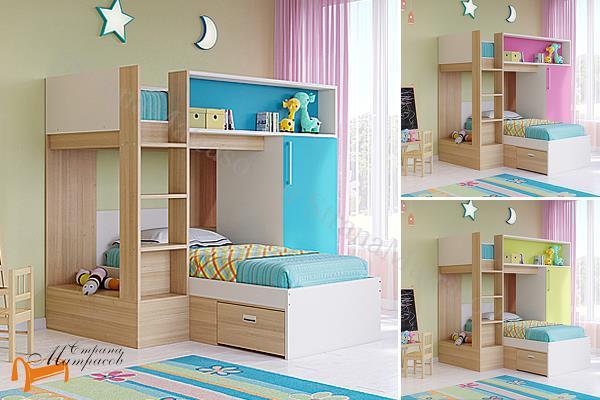 Орматек -  двухъярусная Baby Land с основанием (шкаф, полки, ящики)