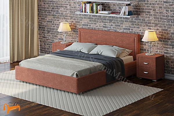 Райтон Кровать Life 2 с основанием , черно - белый, бежево - коричневый, экокожа, люкс, олива, люфти рыжий, глазго серый , глазго коричневый, молочный, бежевый,