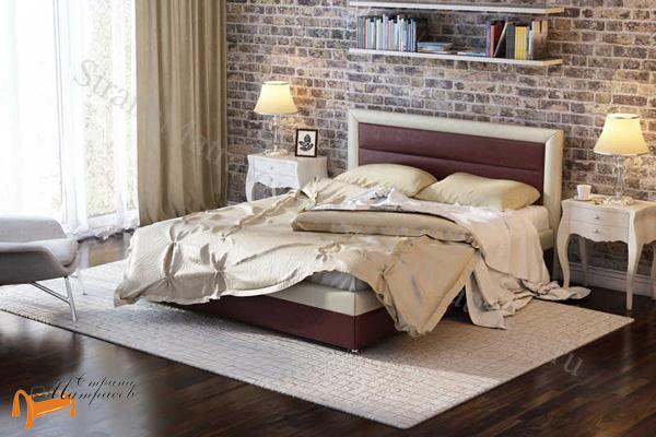 Райтон Кровать Life 2 с основанием , экокожа люкс, черно - белая