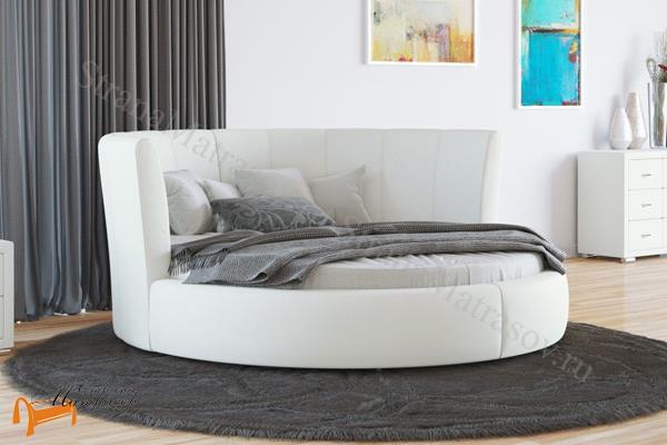 Орматек  Luna с основанием (круглая) , кровать Луна, экокожа, ткань, велюр, лен, кремовый, белый, черный, коричневый, рыжий, зеленый, красный, олива, ваниль, бежевый