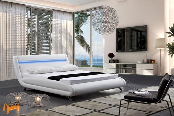 Орматек Кровать Corso-7 с подсветкой , корсо, белая, коричневая, кремовая, ваниль, экокожа, зеленая, олива, серая, темно серая, черная, золотая, жемчуг, бежевая