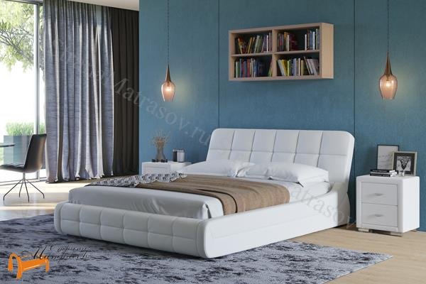 Орматек Кровать Corso-6 , корсо, экокожа, белая, кремовая, ванильная, коричневая, венги, олива, золото, крокодил, ваниль, жемчуг, серая, черная
