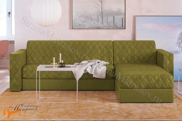 Орматек Диван Ergonomic ambition (угловой диван c пуфом) (с ортопедическим матрасом) , мягкая мебель, велюр, раскладывается, тип аккордеон, зеленый, белый, кремовый, желтый, черный, коричневый, лимонный, бежевый, красный, голубой