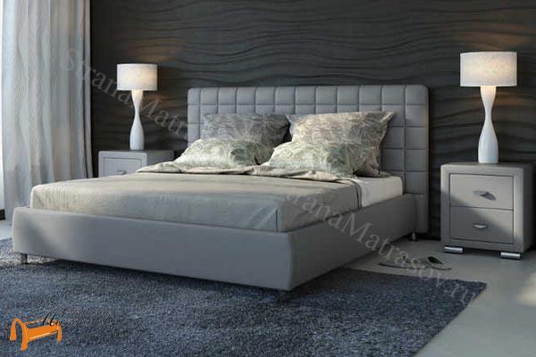Орматек Кровать двуспальная Corso 3 , корса 3, светло серый, серая, светло-серая, экокожа, люкс