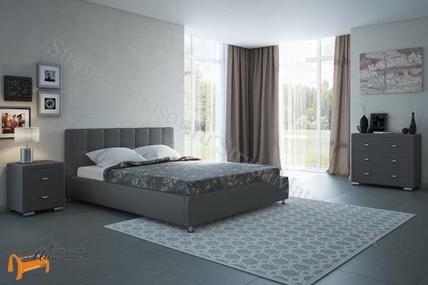 Орматек Кровать двуспальная Corso 4 , экокожа, белая, черная, корсо, коричневая, бежевая, кремовая, золото, жемчуг, крокодил, серая, олива, зеленая
