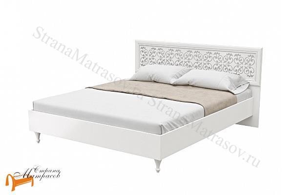 Орматек Кровать Flavia 1 с основанием , лдсп, мдв, золотой, ванильный, белый, орех,