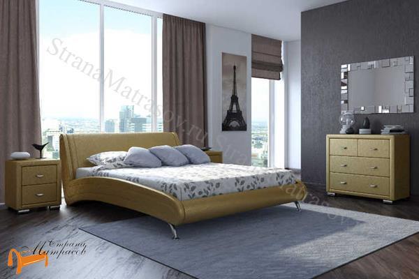 Орматек  двуспальная Corso 2 , экокожа, золотой, кровать Корсо
