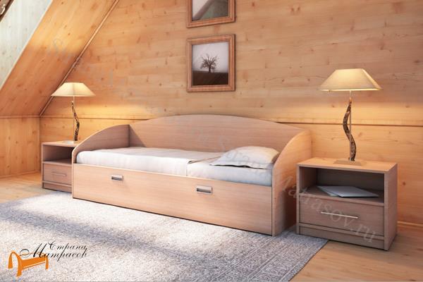 Орматек Детская кровать (подростковая) Этюд Софа Плюс с основанием и ящиком , лдсп, дсп, бавари, венги, шамони, гварнери, орех