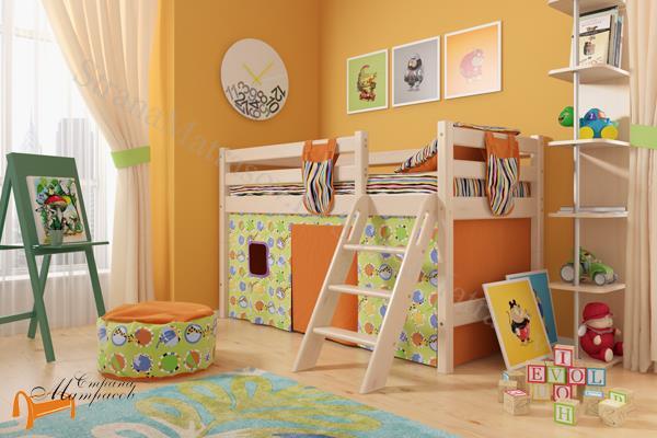 Райтон - детская кровать Райтон низкая Отто 12 с наклонной лестницей и основанием