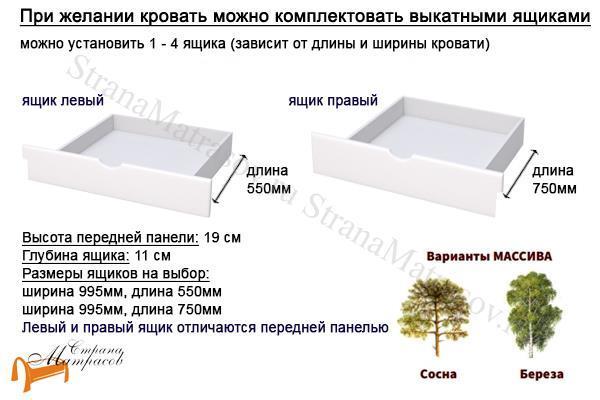 Райтон Кровать Nika с основанием , натуральное дерево, классика, сосна, береза, слоновая кость, орех, коричневый, венге, белый, розовый, лаванда, шоколад, ящик
