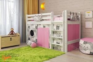 Райтон - Детская кровать низкая Отто 11 с прямой лестницей и основанием