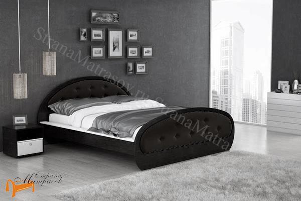 Райтон Кровать Сезия , состав экокожа, лдсп, кровать орматек, черная, коричневая, шамони, белая, венги, кровать райтон