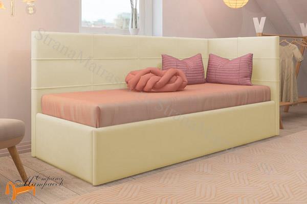 Райтон Кровать Life 1 софа  , экокожа, ткань, коричневый, белый, бежевый, черный