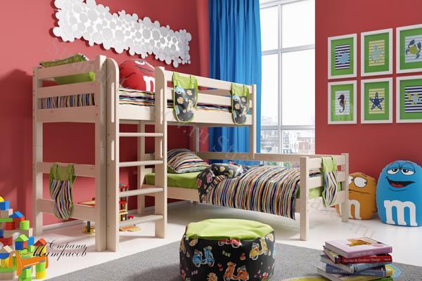 Райтон - детская кровать Райтон угловая полувысокая Отто 7 с прямой лестницей и основанием