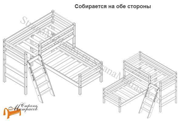 Райтон Кровать угловая полувысокая Отто 8 с наклонной лестницей и основанием , натуральное дерево, сосна, ящик