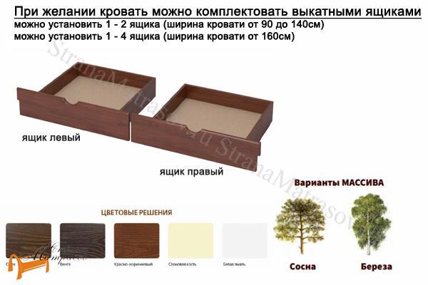 Райтон Кровать Nika с основанием , натуральное дерево, классика, сосна, слоновая кость, орех, коричневый, венге, белый