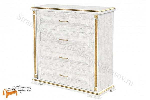 Райтон Комод Берта (4 ящика) , натуральное дерево, классика, дуб, белая, эмаль, венги, золото