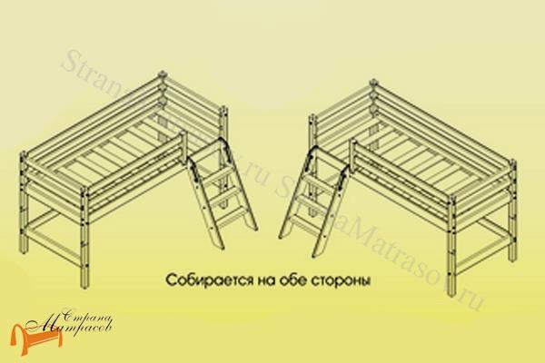 Райтон  низкая Отто 12 с наклонной лестницей и основанием , натуральное дерево, сосна, кровать - чердак, двухъярусная