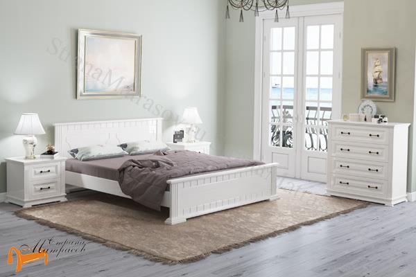 Райтон Кровать Milena М с основанием , натуральное дерево, классика, сосна, слоновая кость, орех, коричневый, венге, белый