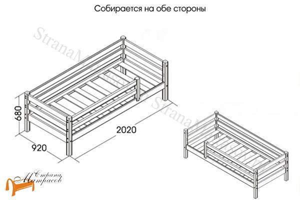Райтон Детская кровать Отто 3 с бортиком и основанием , натуральное дерево, сосна