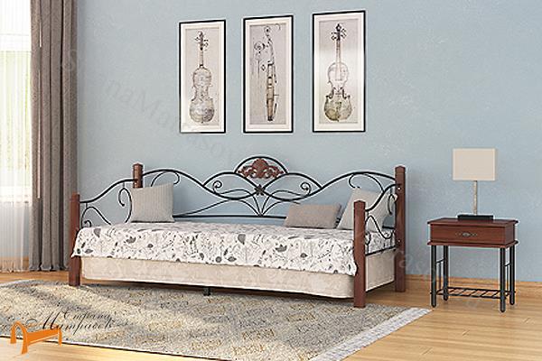 Орматек Кровать Garda 2R - софа с основанием , дерево гевеи, металл, белая, венги, орех