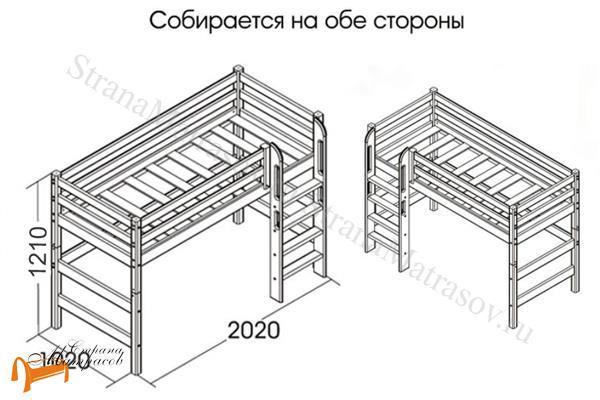 Райтон  низкая Отто 11 с прямой лестницей и основанием , натуральное дерево, сосна, кровать - чердак, двухъярусная