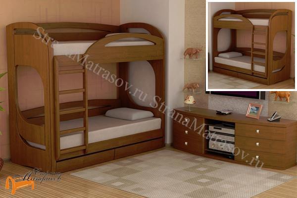 Торис -  Торис Кровать подростковая двухъярусная Миа 5 и Миа 6 (2 ящика)