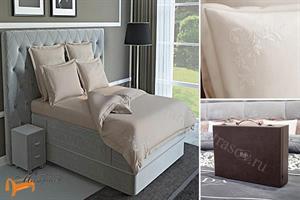 Verda -  Комплект постельного белья Verda песочный сатин (простынь на резинке на высоту евро-топа до 10см)