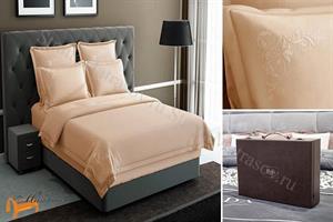 Verda -  Комплект постельного белья Verda персиковый сатин (простынь на резинке на высоту матраса до 47см)